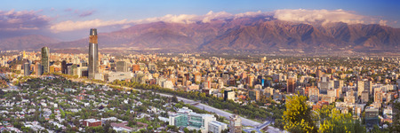 cerro: The skyline of Santiago in Chile. Photographed from Cerro San Cristobal at sunset.