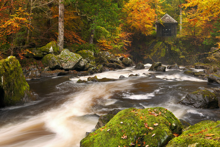 great hall: River through autumn colours at the Hermitage near Dunkeld in Scotland. Stock Photo
