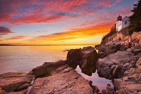 spectacular: The Bass Harbor Head Lighthouse in Acadia National Park, Maine, USA. Photographed during a spectacular sunset.