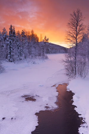vertical image: A frozen river in a wintry landscape. Photographed near Levi in Finnish Lapland at sunrise.