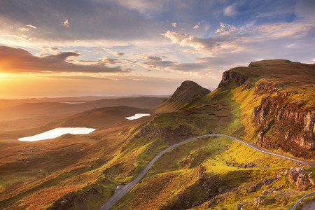 extreme angle: Sunrise over the Quiraing on the Isle of Skye in Scotland.