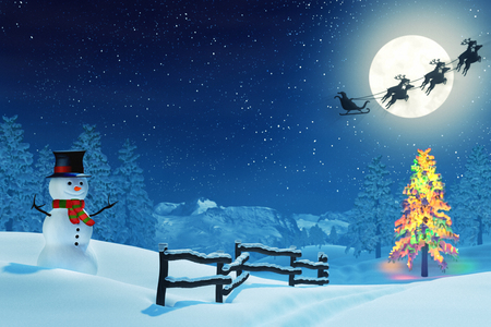 night road: A snowman in a moonlit snowy Christmas landscape at night under a full moon. The trees are covered in snow and one of the trees is lit by colourful Christmas lights. Santa Claus is passing by in his sleigh.