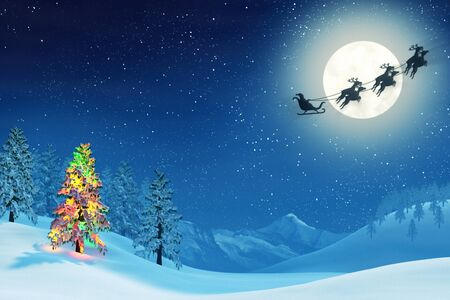 full moon: A moonlit snowy Christmas landscape at night under a full moon. The trees are covered in snow and one of the trees is lit by colourful Christmas lights. Santa Claus is passing by in his sleigh.