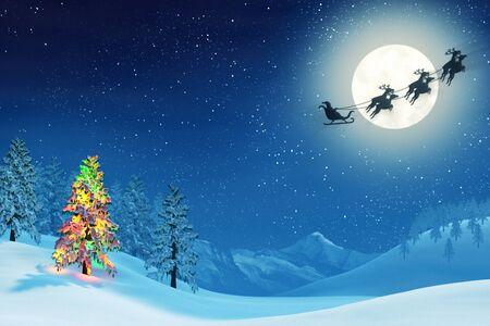 completo: Una luz de la luna paisaje nevado de Navidad en la noche bajo una luna llena. Los �rboles est�n cubiertos de nieve y uno de los �rboles est� iluminada con luces de colores de Navidad. Santa Claus est� pasando en su trineo. Foto de archivo