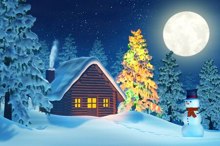 covered in snow: A cabin in a moonlit snowy Christmas landscape at night. The trees are covered in snow and one of the trees is lit by colourful Christmas lights. A snowman is standing by the cabin.