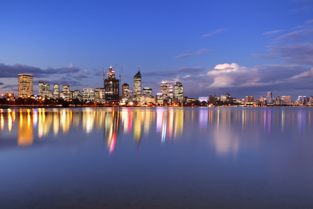 western australia: The skyline of Perth, Western Australia at night. Photographed from across the Swan River.