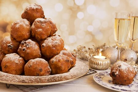Champagne and 'Oliebollen', traditional Dutch pastry for New Year's Eve.