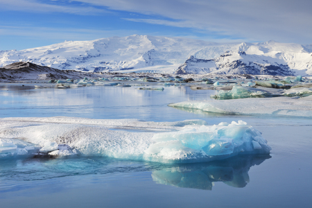 arctic waters: Icebergs in the Jokulsarlon glacier lake in Iceland in winter.