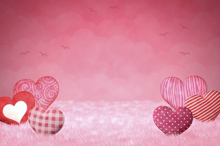 dreamy: Cute little hearts on a dreamy, pink background. Stock Photo