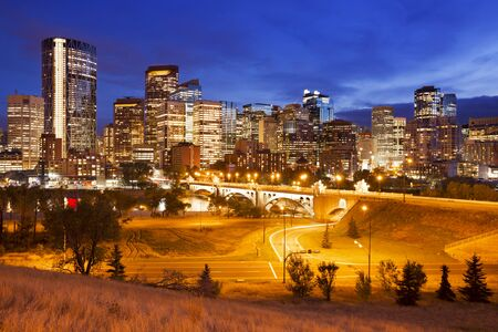 The skyline of downtown Calgary, Alberta, Canada, photographed at dusk.