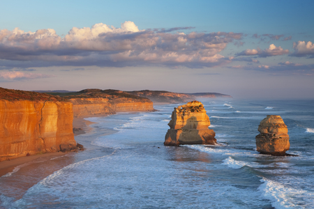 no cloud: The Twelve Apostles along the Great Ocean Road, Victoria, Australia. Photographed at sunset.