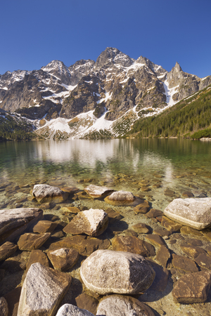 morskie: The Morskie Oko mountain lake in the Tatra Mountains in Poland, on a beautiful bright morning.
