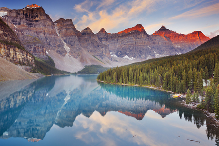 naturally: Beautiful Moraine Lake in Banff National Park, Canada. Photographed at sunrise.