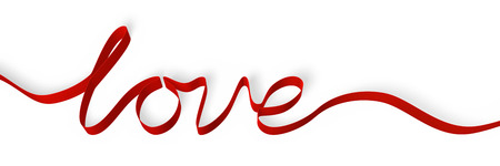 A red ribbon forming the word love. Isolated on a white background. Stock Photo