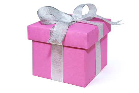 white ribbon: A pink Valentines giftbox with a silver ribbon, isolated on white.