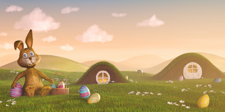 huevos de pascua: Un conejo de Pascua linda rodeada de los huevos de Pascua.