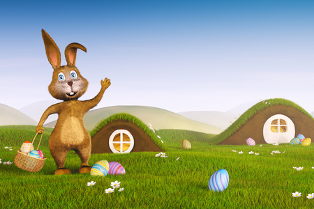 bunny: A cute Easter bunny holding a basket with Easter eggs.