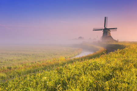 holland windmill: A traditional Dutch windmill at sunrise on a beautiful foggy morning.