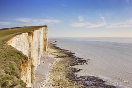 east coast: The cliffs and lighthouse at Beachy Head on the south coast of England.