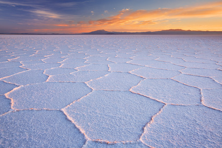 salar de uyuni: The worlds largest salt flat, Salar de Uyuni in Bolivia, photographed at sunrise.