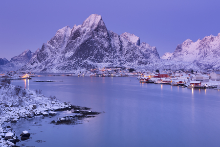 europe travel: The village of Reine on the Lofoten in northern Norway. Photographed at dusk in winter.