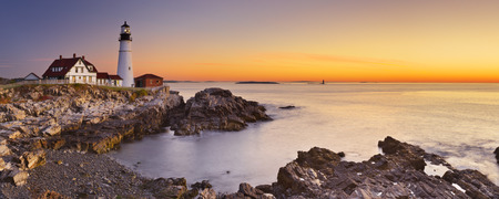 cliffs: The Portland Head Lighthouse in Cape Elizabeth, Maine, USA. Photographed at sunrise. Stock Photo