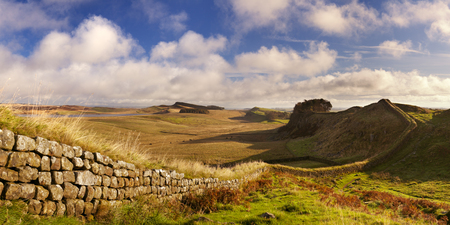 English countryside with Hadrian's Wall in beautiful early morning light. Photographed near the Housesteads Fort. Reklamní fotografie - 54723210