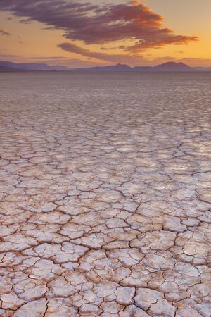 cracked: Cracked earth in the Alvord Playa, a dry lakebed in the Alvord Desert in southeastern Oregon, USA. Photographed at sunrise. Stock Photo