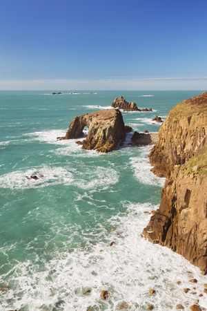end of the day: Lands End, Englands westermost point, on a bright and sunny day. Stock Photo