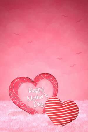 digitally generated image: Cute little hearts for Mothers Day on a dreamy, pink background. Stock Photo