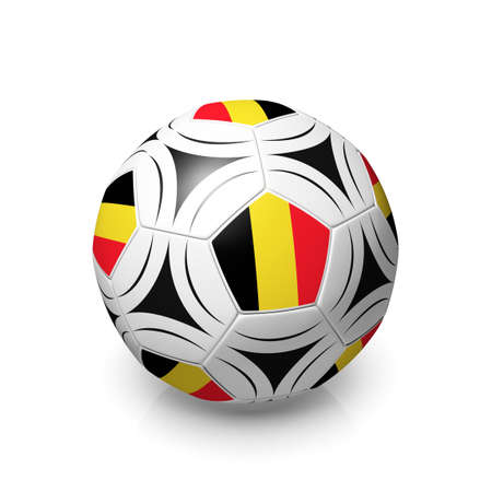 digitally generated image: A football with a Belgian flag, 3d render on a white background. Stock Photo