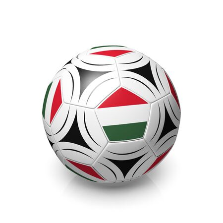 digitally generated image: A football with a Hungarian flag, 3d render on a white background.