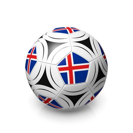 icelandic flag: A football with an Icelandic flag, 3d render on a white background.