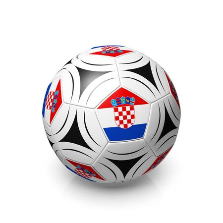 digitally generated image: A football with a Croatian flag, 3d render on a white background.