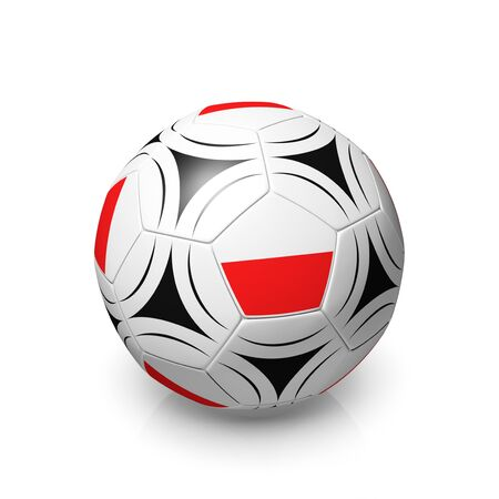 digitally generated image: A football with a Polish flag, 3d render on a white background.