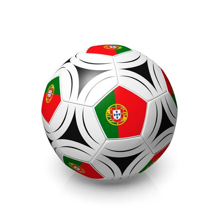 digitally generated image: A football with a Portuguese flag, 3d render on a white background.