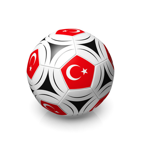 digitally generated image: A football with a Turkish flag, 3d render on a white background. Stock Photo