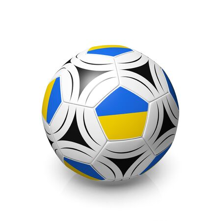 digitally generated image: A football with an Ukrainian flag, 3d render on a white background. Stock Photo