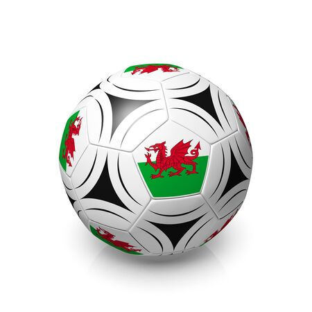 welsh flag: A football with a Welsh flag, 3d render on a white background. Stock Photo