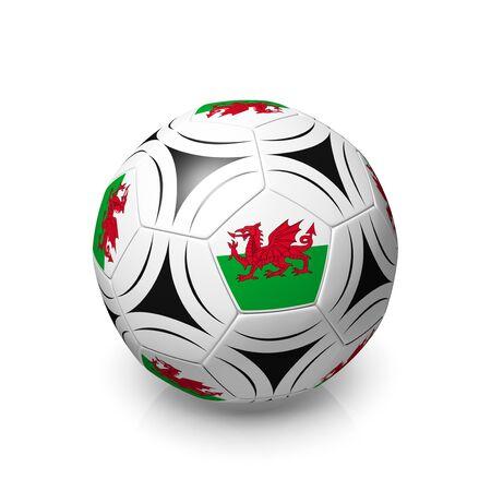 welsh flag: Un gioco del calcio con una bandiera gallese, rendering 3d su uno sfondo bianco. Archivio Fotografico