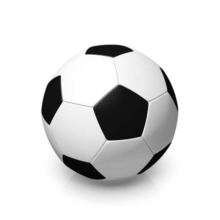 digitally generated image: A black and white football, 3d render on a white background.