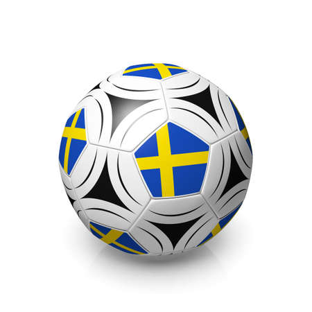 digitally generated image: A football with a Swedish flag, 3d render on a white background.