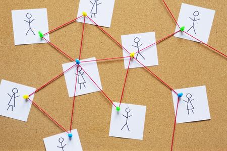 bulletin board: Visualization of a social network on a cork bulletin board.