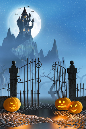 open gate: Jack OLanterns guarding an open gate leading to a spooky castle high up in the mountains.