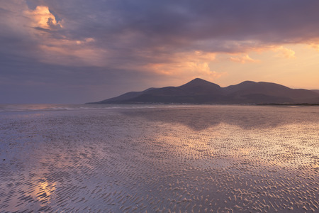 mourne: The Mourne Mountains in Northern Ireland at sunset, photographed from Murlough Beach. Stock Photo
