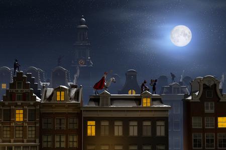 sinterklaas: Sinterklaas and the Pieten on the rooftops at night, a scene for the traditional Dutch holiday Sinterklaas, 3d render.