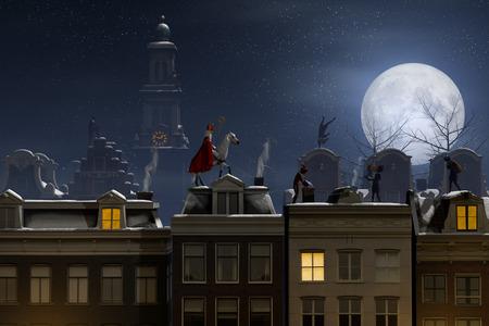 Sinterklaas en de Pieten op de daken 's nachts, een scène voor de traditionele Nederlandse vakantie Sinterklaas, 3D render. Stockfoto