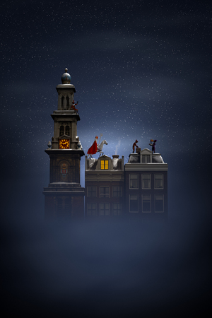 Sinterklaas et Pieten sur les toits la nuit, une scène pour la fête traditionnelle néerlandaise 'Sinterklaas', 3d render.