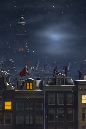 zak: Sinterklaas and the Pieten on the rooftops at night, a scene for the traditional Dutch holiday Sinterklaas, 3d render.