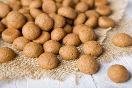 Homemade pepernoten or kruidnoten, a Dutch delicacy for Dutch holiday Sinterklaas. Stock Photo